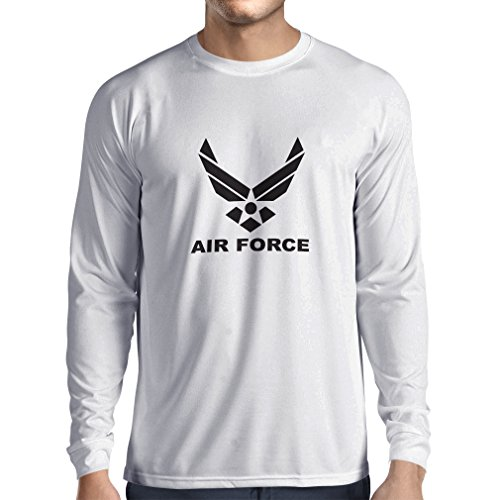 Camiseta de Manga Larga para Hombre United States Air Force (USAF) - U. S. Army, USA Armed Forces (XS Blanco Negro)
