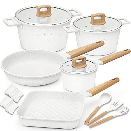 Cookware Set Non-Stick Scratch Resistant 100% PFOA Free Induction Aluminum Pots and Pans Set with...