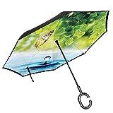 Paraguas invertido de doble capa invertido paraguas resistente al viento protección UV grande auto soporte al revés paraguas recto para golf mujeres y hombres con forma de C