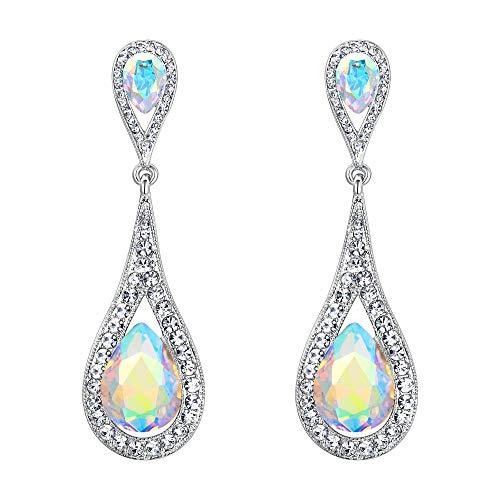EVER FAITH Damen Ohrringe Österreichische Kristall Elegant Dual Tropfen Stecker Dangle Ohrstecker Ohrschmuck Iridescent Klar AB Silber-Ton