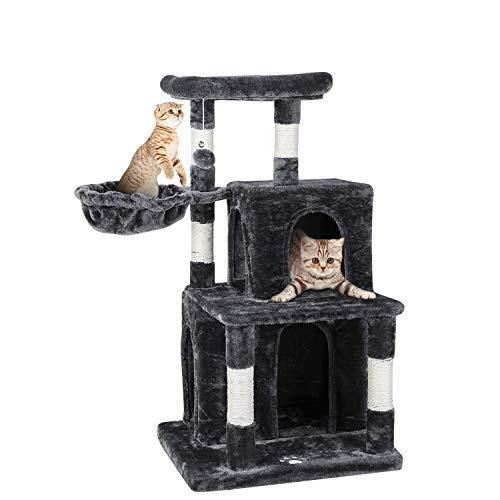 pedy Kratzbaum klein für Katzen, Stabiler Kletterbaum, Katzenkratzbaum, Kratzbrett mit Aussichtsplattformen, Höhe 108cm Grau