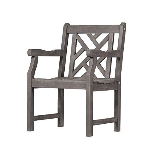 Vifah V1301 Renaissance Hand-Scraped Acacia Patterned Back Outdoor Armchair