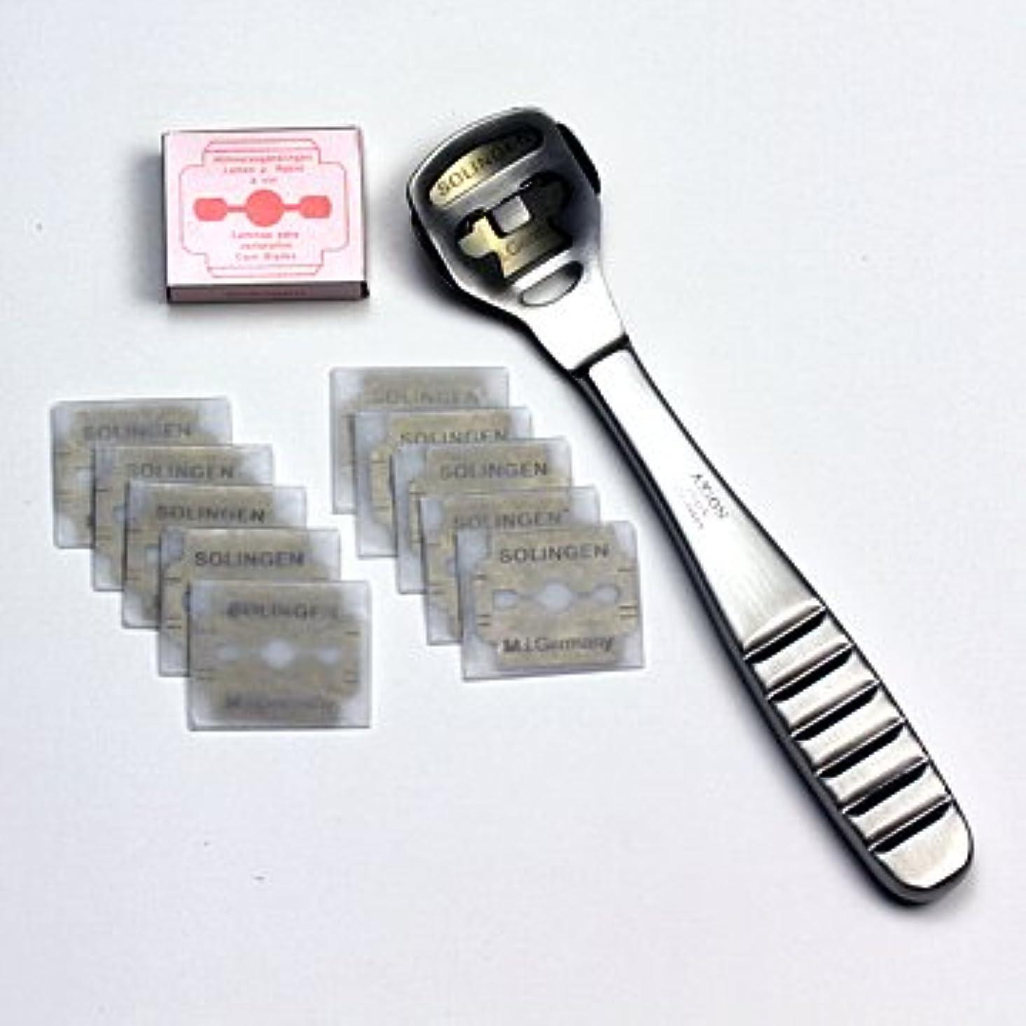 放射能安定しましたチップドイツ?ゾーリンゲン AXiON(アクシオン)ステンレス製かかと削り器(ゾーリンゲン製替刃11枚付)#slg008964fba