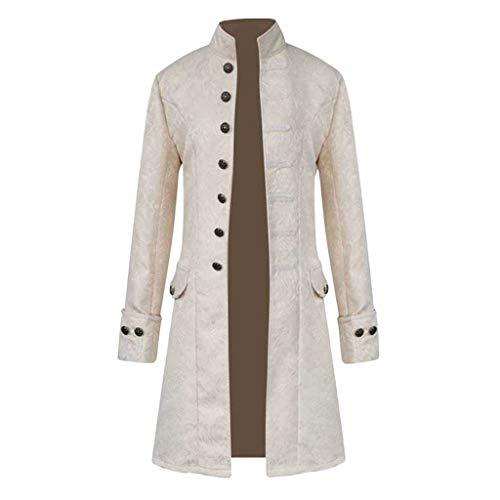 AmyGline Herren Jacke Frack Steampunk Gothic Gehrock Uniform Cosplay Kostüm Smoking Mantel Retro Viktorianischen Langer Uniformkleid Plus Size Männer Langarm