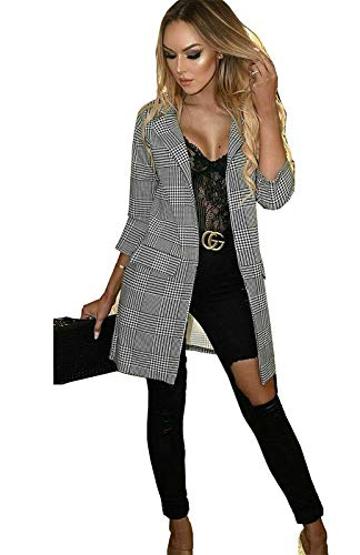 Top Fashion18 Ladies Womens Check Hounds Tooth Tartan 3/4 Sleeve Duster Coat Jacket Blazer Size 8-24