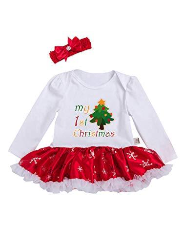 URBEAR Bebés Niñas Tutu Vestidos de Mi Primera Navidad 2 Piezas Árbol de Navidad 18-36 Meses