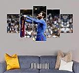 DPFRY Cuadro En Lienzo Barcelona Messi Y Su Imagen De Ropa para La Pared Arte De La Pared Decoración De Impresión En HD Obras De Arte Modernas Poste De Fútbol 5 Piezas 150X100Cm Sin Marco