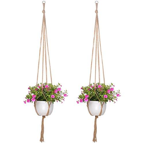 Da.Wa - 2colgadores para plantas para interiores y exteriores, de fibra de yute natural, cestas colgantes para macetas