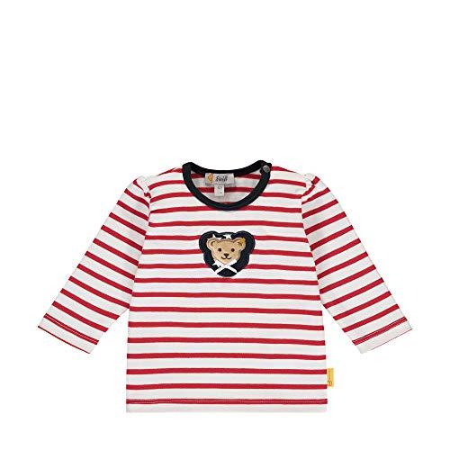 Steiff Baby-Mädchen mit süßer Teddybärapplikation T-Shirt Langarm, Rot (Tango RED 4008), 062