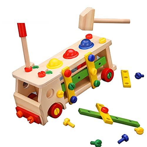 illuMMW Juguete educativo para niños, bola de madera martillada para niños recién nacidos