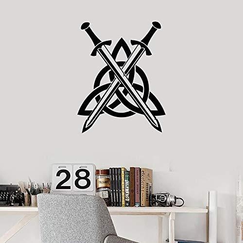 Arte calcomanía de pared nudo espadas niños dormitorio adolescente sala de estar decoración del hogar pegatinas de pared extraíbles Mural A1 57x72cm