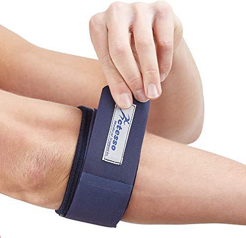 Actesso Blau Ellenbogenbandage für Tennisarm - Lindert Epicondylitis, Tennisellenbogen, Golferellenbogen und Sehnenscheidenentzündung (Universalgröße - Links oder rechts)