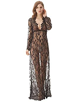 cunlin Cover Up for Women Sexy See Through Lace Gown Maxi Maternity Dress Photography Props Black L