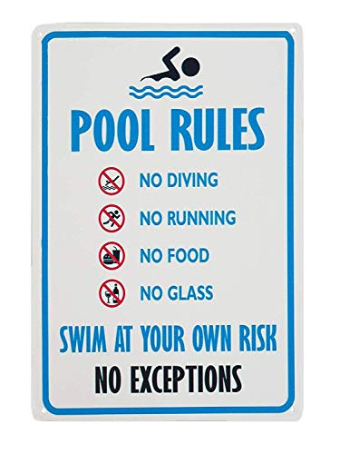 "Sicherheits-Warnschild ""No Diving No Running No Food No Glass Swim at Your Own Rish No Exceptions Pool Rules"", 20,3 x 30,5 cm"