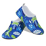 Toddler Kids Swim Water Shoes Non-Slip Quick Dry Barefoot Socks Shoes for Beach Pool Surfing Yoga (Blue-Dino, Numeric_13_Point_5)