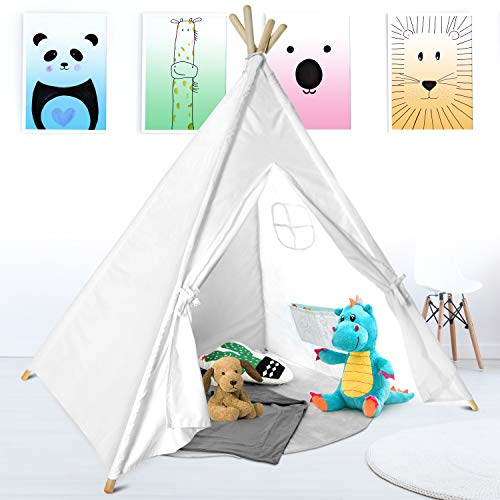 Chicago Merchandise Co Kids Teepee Tent - 100% Cotton White Teepee Tent with Waterproof Base for Kids & Toddler Bedroom Furniture - Best Indoor & Outdoor Nook for Reading, Play, Or Home Decor