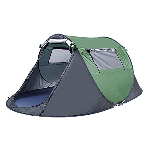 Camping Tents 2-5 Person Automatic Throwing 1 Sec Pop-up Waterproof Outdoor Hiking Beach Tent Sunscreen Family Teepee 2 Color 2 Sizes Green-S