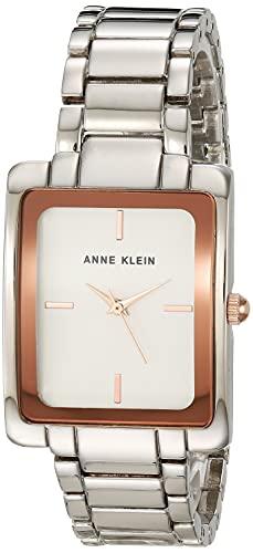 Anne Klein Conjunto de reloj y pulsera de cristal premium para mujer