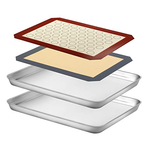 Baking Sheet with Silicone Mat Set, Yododo Set of 4 (2 Sheets + 2 Mats), Stainless Steel Cookie Sheet Baking Pan Tray with Silicone Mat, Non Toxic & Heavy Duty & Easy Clean – Size of 12 inch