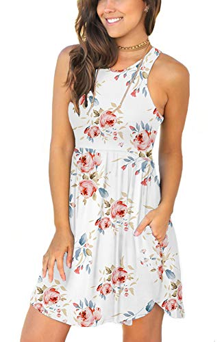 LONGYUAN Women Swimsuit Bathing Suit Cover Ups for Sundress Large,Floral White