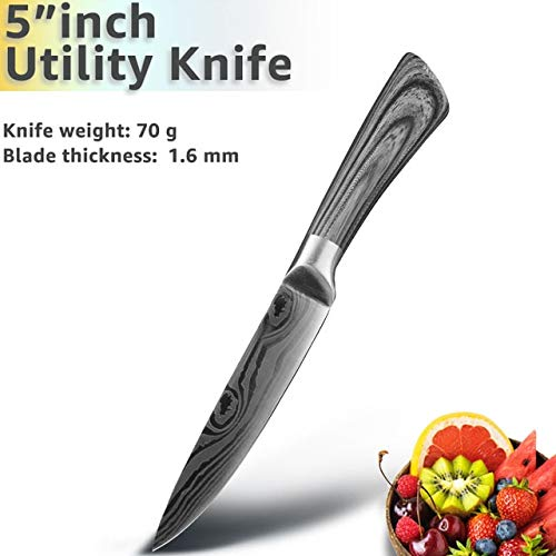 Best Quality Kitchen Knife 5 7 8 inch 7Cr17 440C Stainless Steel Utility Cleaver Chef Knife Damascus Drawing Meat Cooking Tool Set