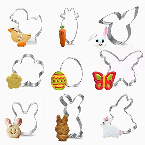 Ausstechförmchen Ostern, 9 Stück Oster Ausstecher Set, Plätzchen Ausstecher Ostern, Ausstechform|Ausstecher Hase|Keksausstecher Ostern, Ideales Ostergeschenk & für Osterplätzchen