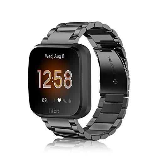 Fintie Correa Compatible con Fitbit Versa 2 / Fitbit Versa/Fitbit Versa Lite - Pulsera de Repuesto de Metal de Acero Inoxidable, Negro