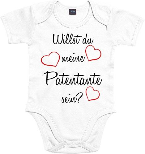 Mister Merchandise Baby Body Willst du meine Patentante sein? Strampler liebevoll bedruckt Pate Patenschaft Taufe Weiß, 0-3