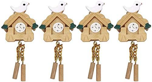BANNAB 4 Piezas de Reloj de simulación Modelo Mini pájaro de Madera decoración Reloj de Juguete epítome para niños Bricolaje (relación 1 a 12) s
