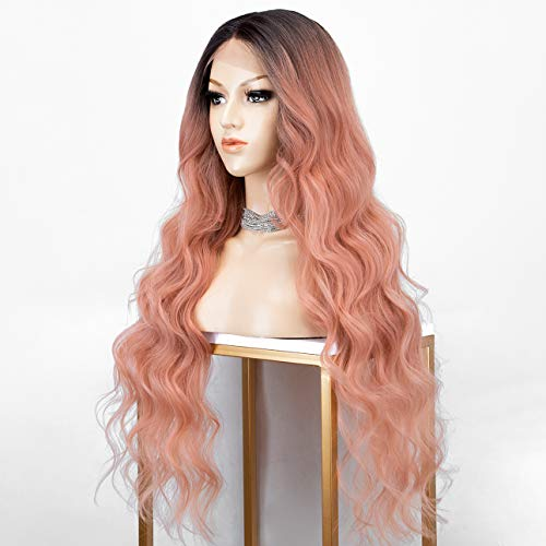 KRYSSMA Ombre Orange Pink Lace Front Wig with 2 Tones Long Synthetic Wavy Wigs 30 Inches Deep Middle Parting