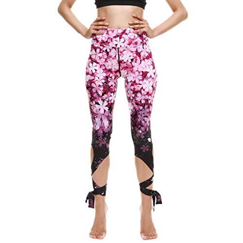 Xniral Dame 3/4 Yoga Hosen mit Verband Neues Persönlichkeit Design Gedruckte Yogahose mit Ballettriemen Leggings Hose Mittlere Taille(b Rosa,XS)