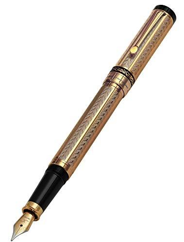 Xezo 18-karat oro capas diamante serializado peso pluma estilográfica. Tapón de rosca. Punta fina (Tribuna oro FG)
