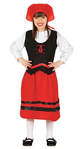 Guirca- Disfraz infantil de pastorcita, Color rojo, 5-6 años (42100.0)
