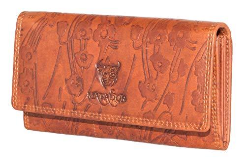 MATADOR Damen Leder Geldbörse Blumen TÜV geprüfter RFID & NFC Schutz Vintage Braun