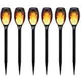 Devo Mini Solar Torches Lights, Waterproof Flickering Flames Torches Lights Outdoor Solar Flame Lights 12 LED Decoration Lighting for Patio Driveway 6 PCS