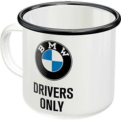 Nostalgic-Art 43210 Retro Emaille-Becher BMW – Drivers Only – Geschenk-Idee für Motorrad-Zubehör Fans, Camping-Tasse, 360 milliliters, Vintage Design