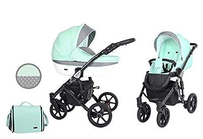 Kunert cochecito de bebé MILA silla de paseo silla de coche asiento de bebé juego completo 2 en 1 (Menta, Color del marco: Negro, 2en1)