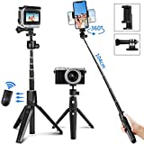 PEYOU Selfie Stick Tripod, 40 inch Extendable Phone Tripod Stand w/Remote Compatible