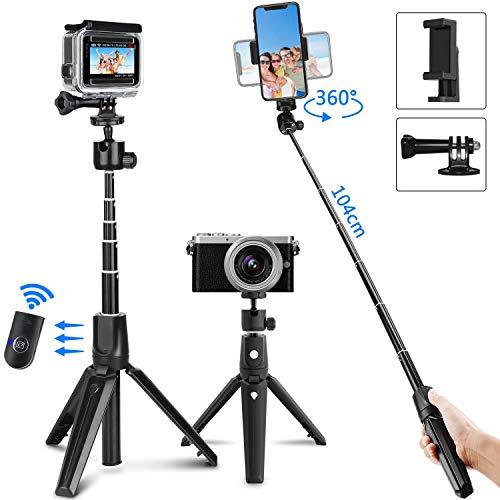 PEYOU Palo Selfie Trípode para Gopro,104cm Palo Selfie Movil con Bluetooth Control Remoto, Adaptadore compatible para Gopro Camara, Monopie compatible para iPhone, para Galaxy Note, para Huawei/Xiaomi