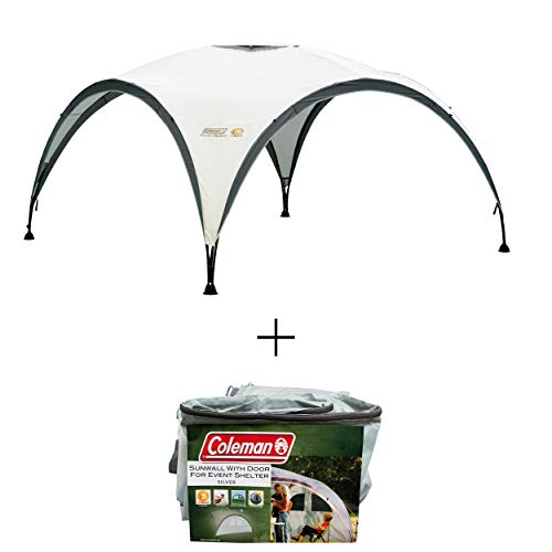 Coleman Gazebo Event Shelter L Including Side Panel with Door and Window, Garden and Camping, Sturdy Steel Poles Construction, Large Event Tent, Portable Sun Shelter with Sun Protection SPF 50+