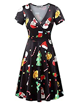 MSBASIC Xmas Dresses Women Short Sleeve Funny Christmas Dress Tree XXL