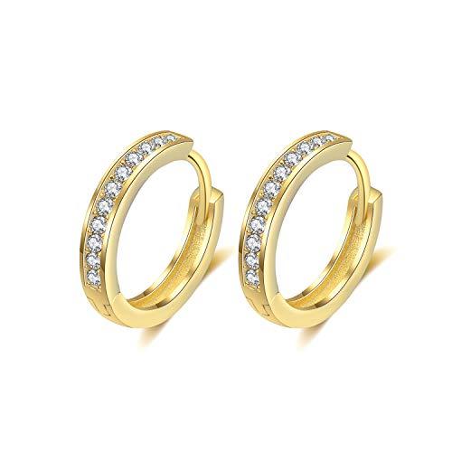 Creolen Silber Damen Ohrringe 925 Sterling Silber Creolen mit AAA Zirkonia Klein Schlafen Kreolen 13mm (Gold 13mm)