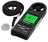 Digital Anemometer,Mini Handheld Wind Speed Gauge Measuring Air Flow Velocity Temperature,Weather Velometer with Max/Avg/Current Wind Chill for HVAC Shooting Sailing