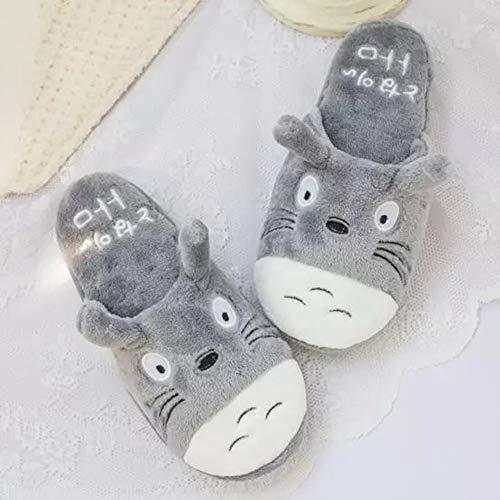 WellingA Totoro Pantoffeln Herren Winter Warme Baumwolle Hausschuhe mit Cartoon rutschfeste Kuschelige Home Slippers,001,42/43EU