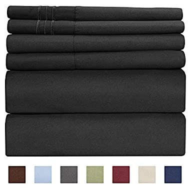 Queen Size Sheet Set - 6 Piece Set - Hotel Luxury Bed Sheets - Extra Soft - Deep Pockets - Easy Fit - Breathable & Cooling Sheets - Wrinkle Free - Comfy - Black Bed Sheets - Queens Sheets - 6 PC