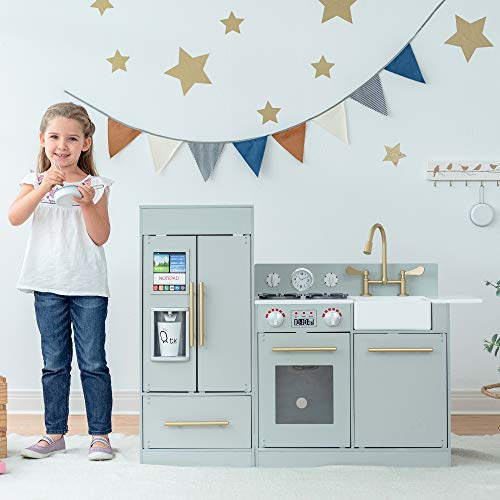 Teamson Kids Little Chef Chelsea Modern Play Kitchen Toddler Pretend 2 pcs Play Set with Accessories and Ice Maker Gray / Gold