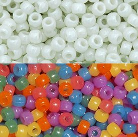 JOLLY STORE Crafts UV Sensitive Color Changing 9x6mm Pony Beads, 100pcs