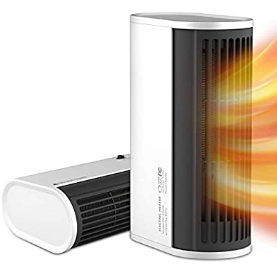 Space heater, Portable Electric Heater with Auto Oscillating Function, Overheating Protection, One-button Control, Horizontal-vertical Dual Use, for Indoor Home Office, White