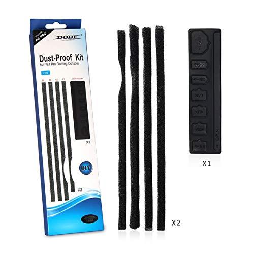 Heaviesk Kits de protección Antipolvo para la Cubierta del Filtro de Malla Jack Jackperper Kits a Prueba de Polvo adecuados para Playstation 4 Pro PS4 Slim Gaming Console Black