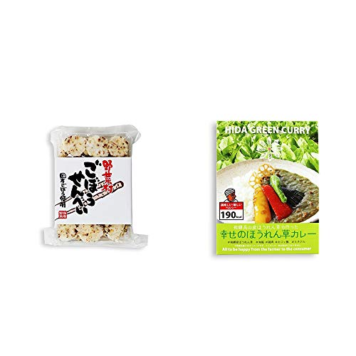 [2点セット] ごぼうせんべい(75g)・飛騨産 幸せのほうれん草カレー(180g)